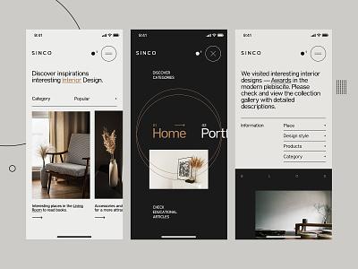 Sinco - Mobile website for Interior Design carousel mobile appdesign app navigation menu grotesk font modern furniture interior web design concept website ux ui design minimalist