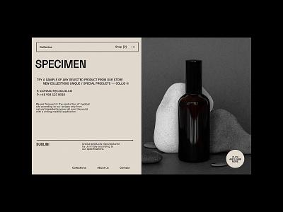 Specimen Products - Website concept natural medical glass products web design concept ui website ux minimalist design