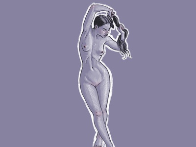 Nude sketches #03 poses naked woman girl digitalart anatomy lineart illustration nude