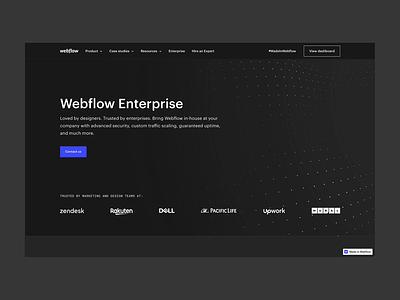 Webflow Enterprise — Design enterprise webgl web design dark clean webflow minimal