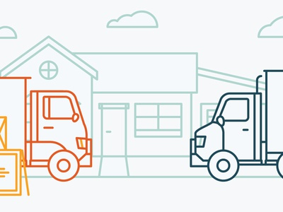 Illustration #4 moving house truck vector linear icon simple line minimal flat illustration