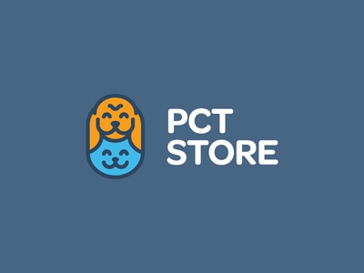 PCT Store cat doge doggo pct minimal linework logo branding