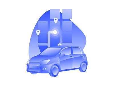 More Illustration Exploration parking gps map car organic blue minimal flat gradient illustration