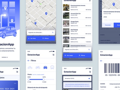 Parking App Screens listing iphone x screens sketch illustration gps map parking app ux design ux iteration