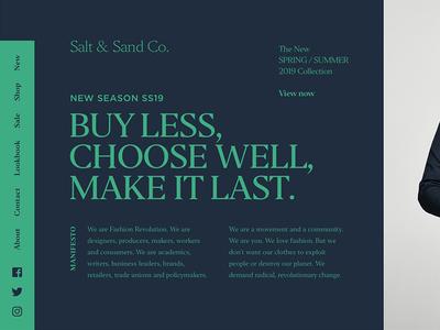 Salt & Sand Co. crisp clean ux ui clothing editor golden canon grid minimal dark layout