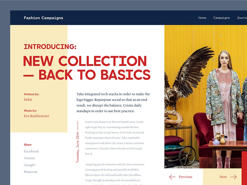 Fashion Journal grid sale post collection fashion layout ux ui