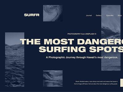 Hawaii's Most Dangerous Surf Spots golden canon grid clean minimal grid journal surf ux ui dark layout
