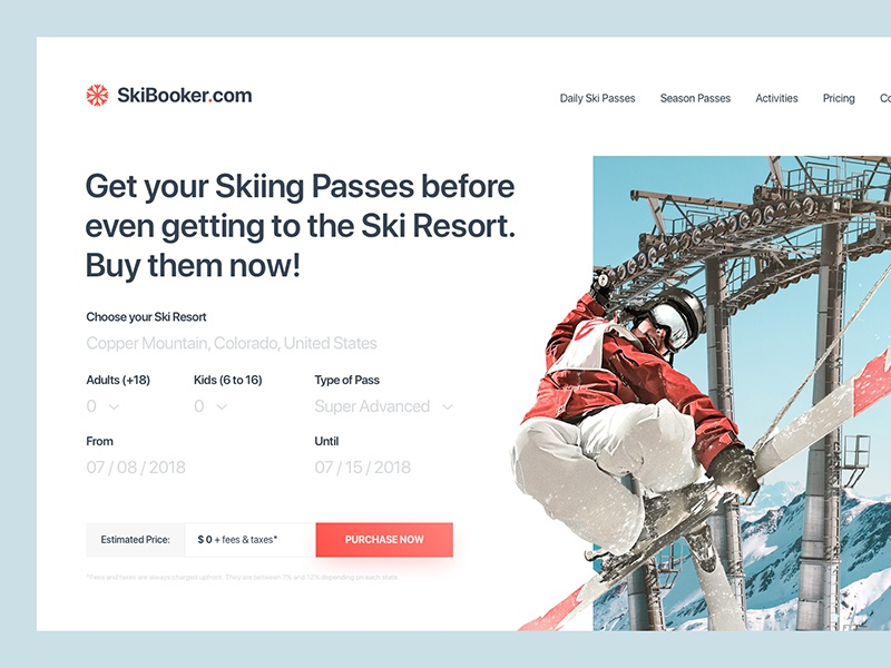 SkiBooker – Buy your ski passes online clean minimal web design passes ski rental ski layout golden canon grid grid ui ux