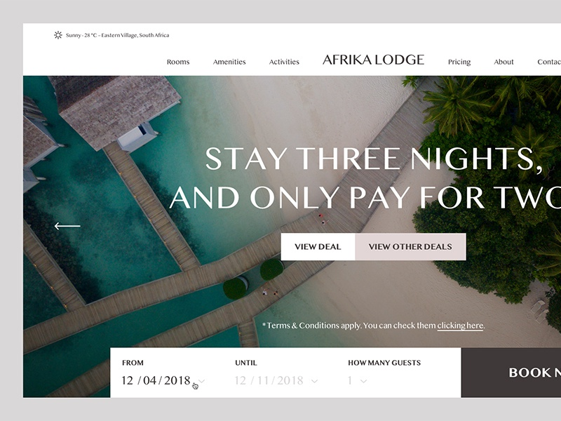 Afrika Lodge high end hotel simple golden canon grid clean minimal ux ui