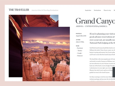Online Travelling Magazine web design golden canon grid grand canyon traveler blog minimal magazine clean ux ui