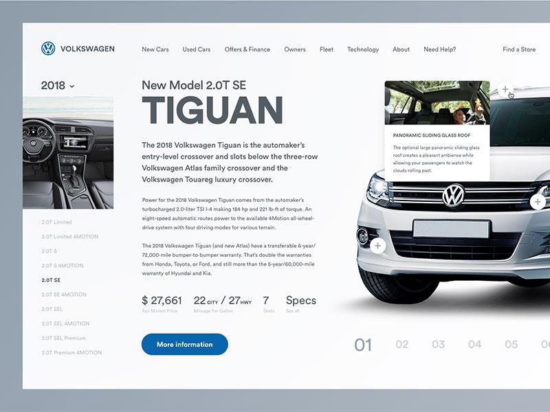 Volkswagen Web Concept volkswagen modern minimal layout golden canon grid clean web design ui ux circular car