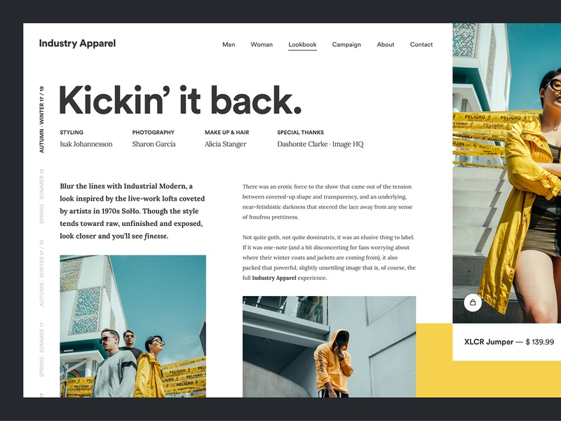 Industry Apparel lookbook fashion web design golden canon grid clean ux ui minimal circular