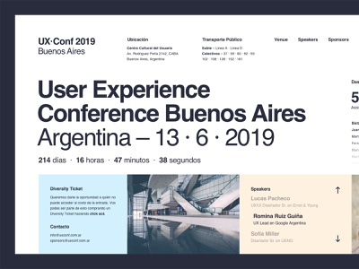 UX · Conf 2019 Buenos Aires – Layout Exploration conference event golden canon grid clean helvetica typography web design minimal ui ux