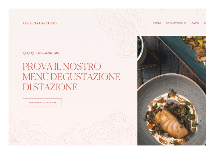 Osteria Paradiso layout osteria pattern restaurant grid ux minimal clean ui golden canon grid