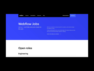 Webflow Jobs — Design careers jobs web design webflow web