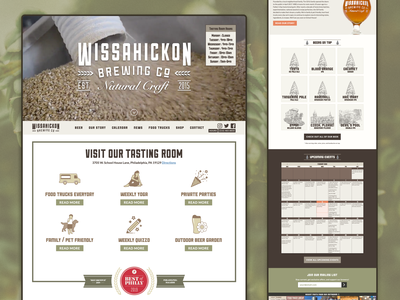 Wissahickon Brewing Co. Website mobile icon background video ux brewery beer wordpress responsive ui web design