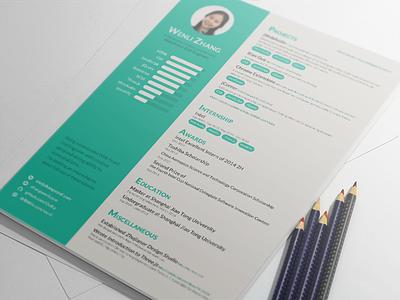 Resume As A Web Front-End Engineer cv resume front-end design mock-up