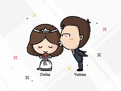 Ovilia & Yumao's Wedding Cartoon Characters kiss bridegroom bride wedding