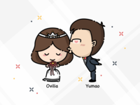 Ovilia & Yumao's Wedding Cartoon Characters