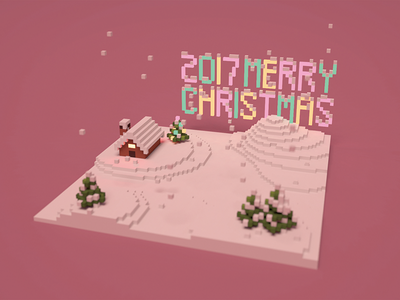 Christmas Postcard magic voxel pixel tree light house snow postcard christmas