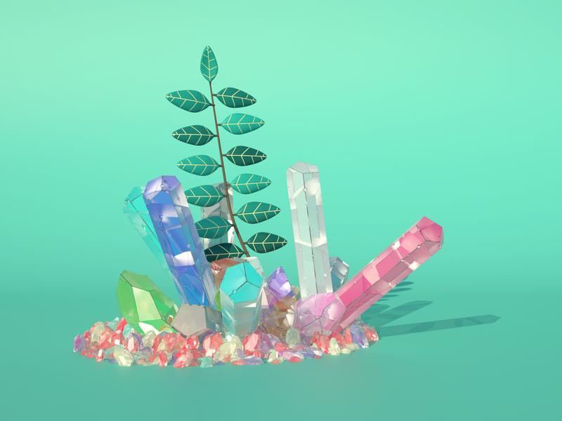 Cristales y plantas nature design concept 3d sun plants crystal
