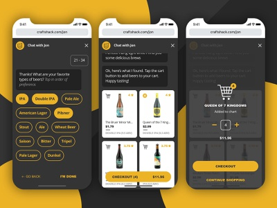 Beer Chat Bot - Your Virtual Cicerone ai craftbeer beer shopping cart beer label uxdesign user experience chat app chatbot uiux mobile user interface ui