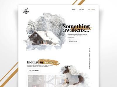 Cabin Retreat Website Design snow luxury webdesign web website design typography watercolor white clean