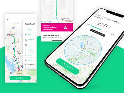 Road Trip App - Pick Your Distance driving explore travel ux design roadtrip navigation map ux mobile uiux ui