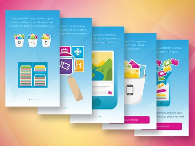 App Walkthrough Illustrations photos filter organize category search icon illustration walkthrough