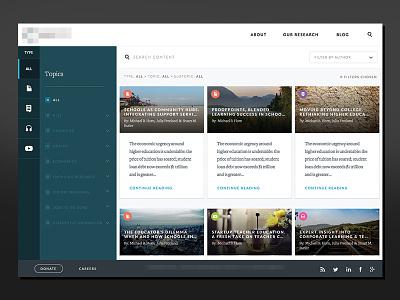 Research Portal browse categorize search filter menu content ui dashboard