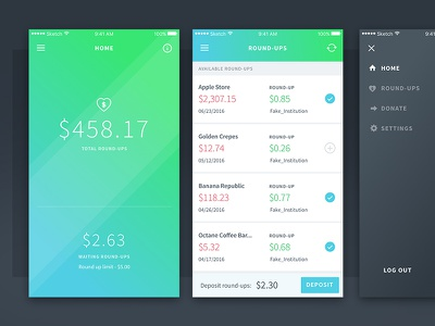 Charity Round-Up Mobile App ux ui charity finance app mobile