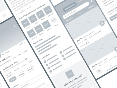 Wireframes user experience design user interface design user experience user interface lodging uiux mobile icon flat ui