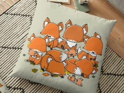 Fox Pillow foxes fox doodle art procreate kawaii art doodle characters characterdesign digital art character design character doodle kawaii