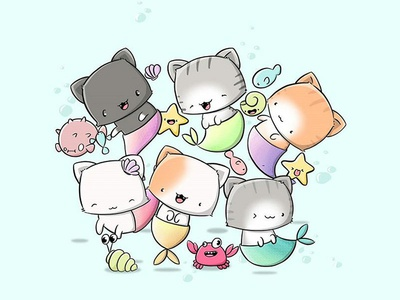 Sea Cats seacats mercats mermaid cute cat cute cats catsu cats kawaii art doodle characters characterdesign digital art character design character doodle kawaii