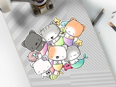 Stickers Sea Cats doodle characters digital art cute doodle art doodle under the sea sea cats cats cat kawaii cat kawaii art characterdesign character design character kawaii