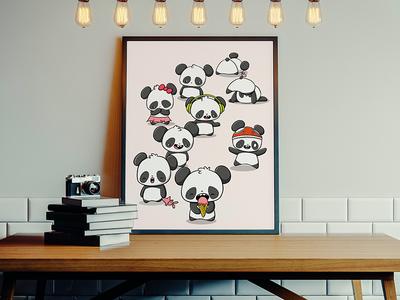 Pandas Print cute panda panda print pandaearth panda bear pandas panda kawaii art illustration watercolor doodle characters doodle art cute characterdesign character design digital art character doodle kawaii