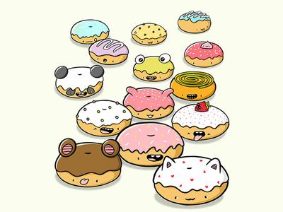 Donut Characters kawaii art doodle art doodle characters digital art characterdesign character design character doodle kawaii cute donuts kawaii donuts donut print donut art donut donuts