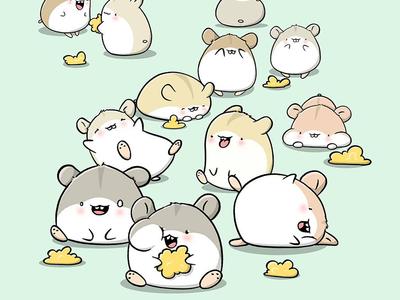 Kawaii Hamsters procreate character design doodle characters doodle character characterdesign digital art kawaii art cute kawaii hamsters