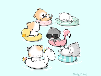 Cute Cats on Poolfloats