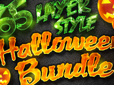 Halloween Layer Styles Mega Bundle bundle dark grim reaper professional garage metal pyscho frankenstein slayer pumpkin cobwebs halloween