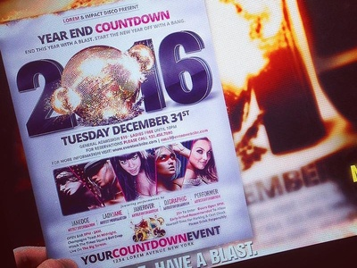 - 2016 High Impact New Years Eve Countdown - promotion flyer poster photos nightclub party collision modern music crash impact disco ball concept countdown celebration