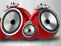 3d Renders Preview Speakers With Gift Bow Dribble