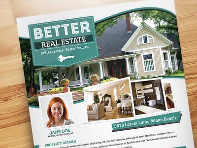 Better Real Estate Flyer Template V5 houses home realty realtor real estate flyer template property professional print modern minimal design flat clean