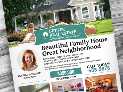 Better Real Estate Flyer Template V4 clean flat design home minimal modern print professional property real estate flyer template realtor realty rei sell houses