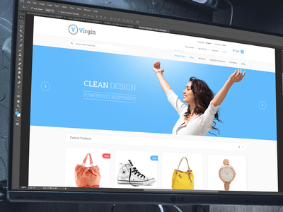 Virgin WIP itsekhtiar banner ui flat ux theme ecommerce blue layout wip clean website