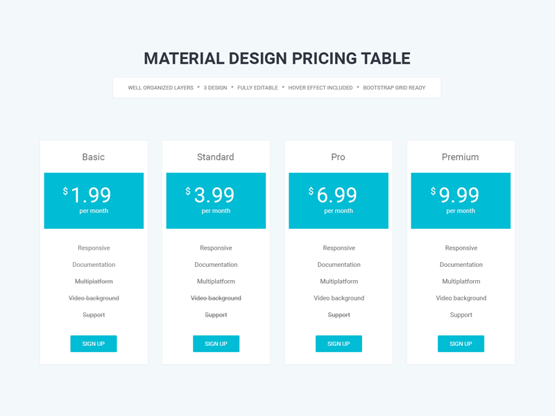 Material design pricing table by ekhtiar mahmud dribbble for Table design web