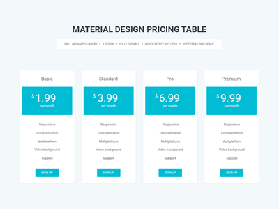 Material Design Pricing Table table shadow psd pricing table price premium material design material itsekhtiar hosting buttons