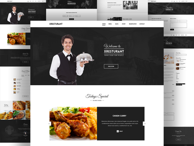 Restaurant Template psd theme itsekhtiar template taste restaurant food flat