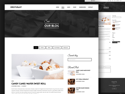 Restaurant blog theme template taste restaurant psd itsekhtiar food flat news blog