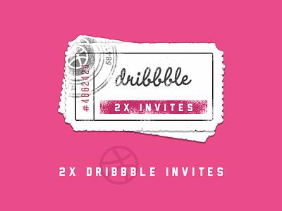 2x Dribbble Invites itsekhtiar ticket invitation illustration icons iconography icon giveaway dribbble design card 2
